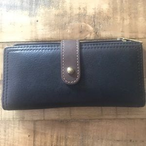 Fossil Black and Brown Leather Long Wallet